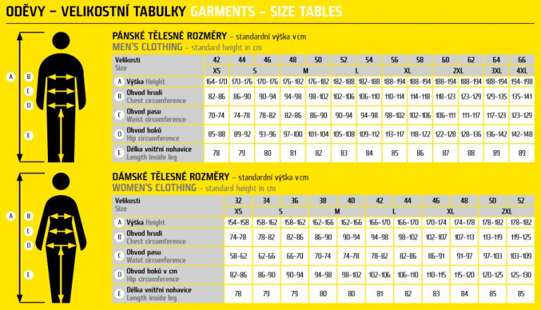 cerva odjeca size table 768x440 - CRAMBE kamuflažni radni softshell - maskirna jakna